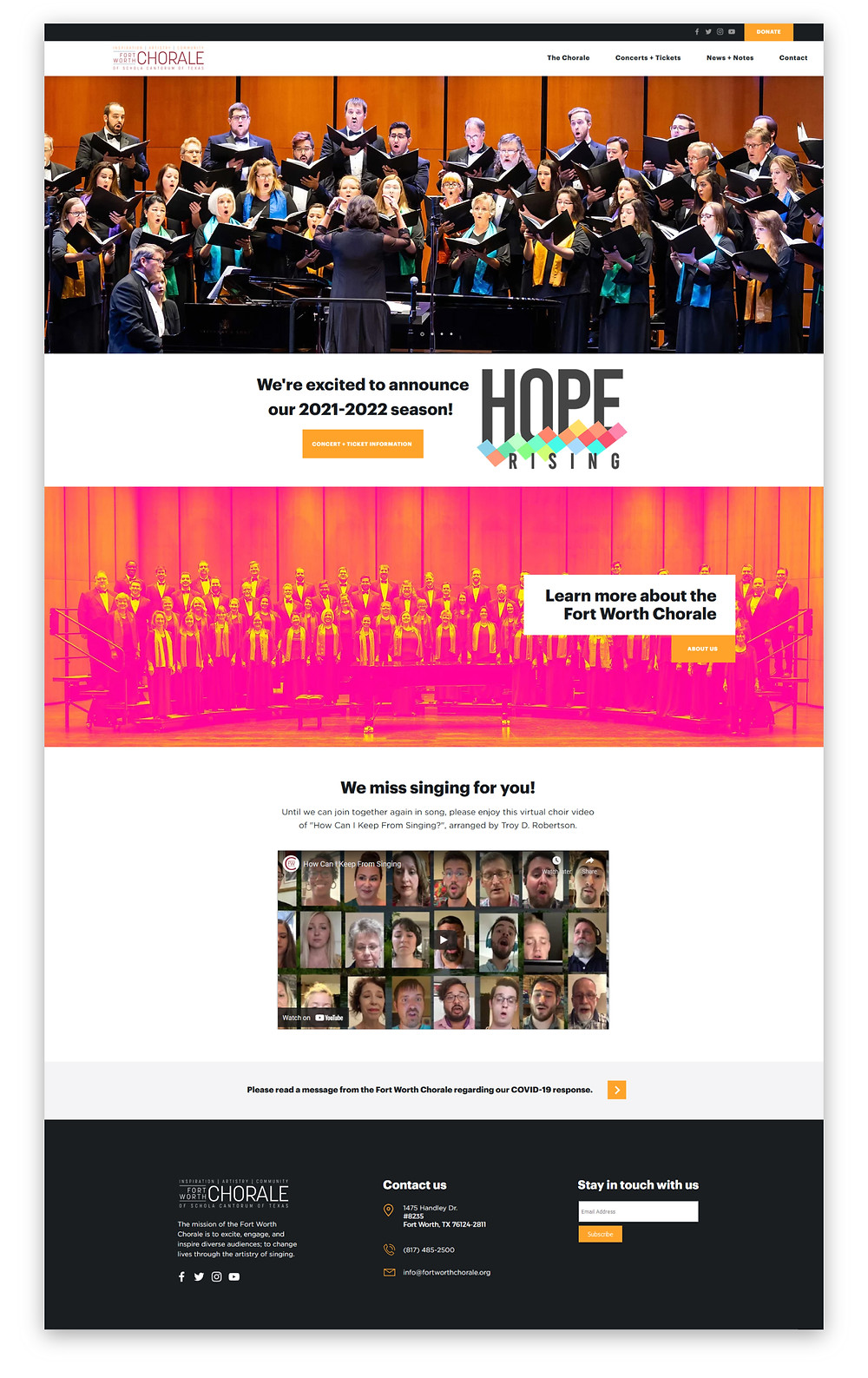 Fort Worth Chorale Wix Website