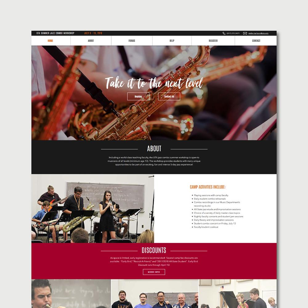 Christy Evans Design - UT Arlington Jazz Camp Website