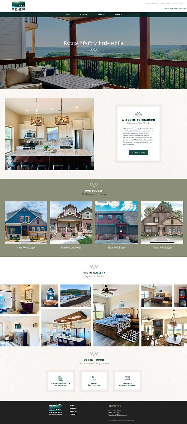 Home page of a Wix website for vacation home rentals Rock Lodges Branson designed by Christy Evans