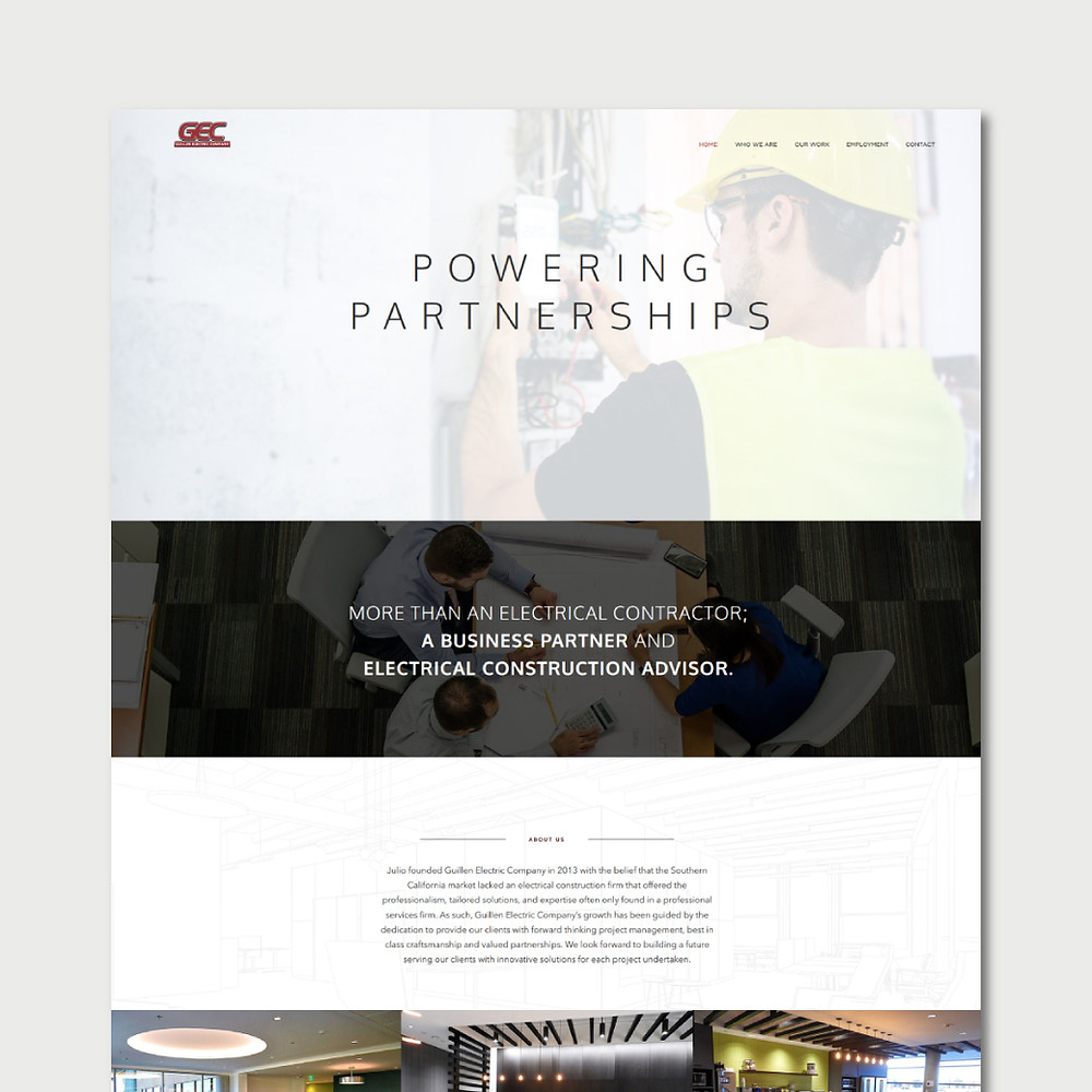 Home page view of Guillen Electric Company - Wix Website - Christy Evans Design