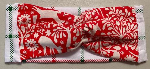 Holiday knit headband- Reindeer & plaid