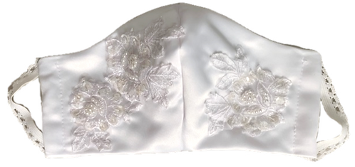 Bridal mask with lace appliqué & beading