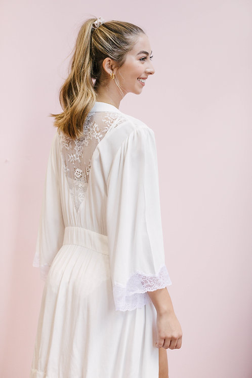 "Lacy Bell Sleeve Robe in ""I do Ivory"""