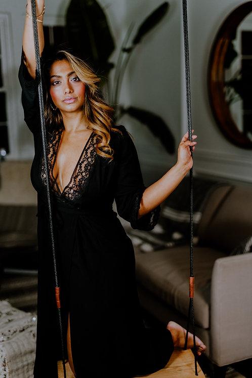 "Ember long robe in ""Beautifully Black"""