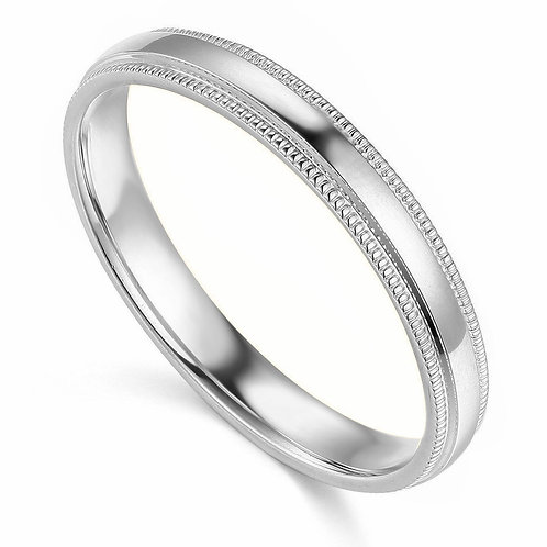 14k White Gold 3-mm Standard-fit Milgrain and polished Wedding Band