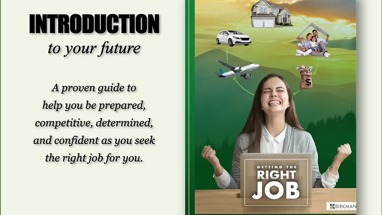 Introduction powerpoint video explaining the benefits of the book, Getting the Right Job.