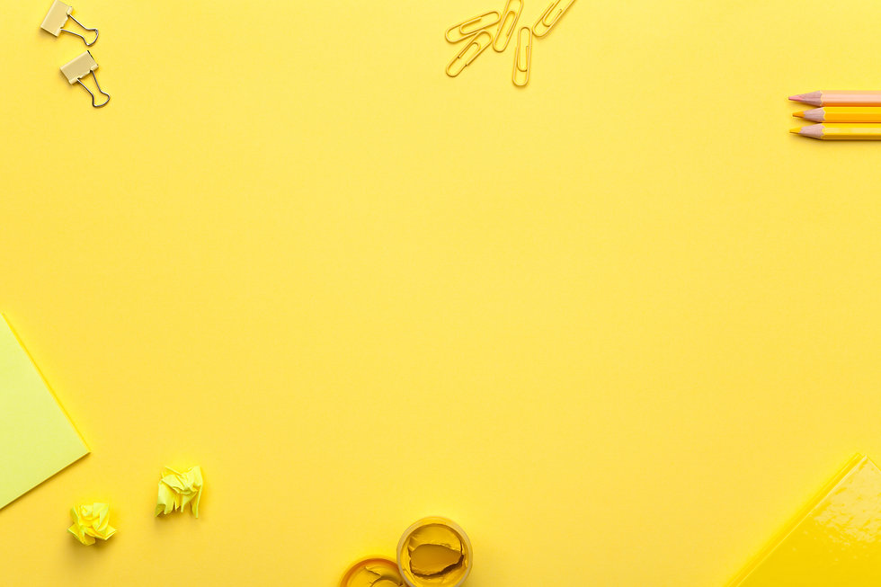 School accessories on yellow background.