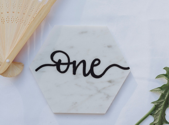 Table Number on Marble Tile