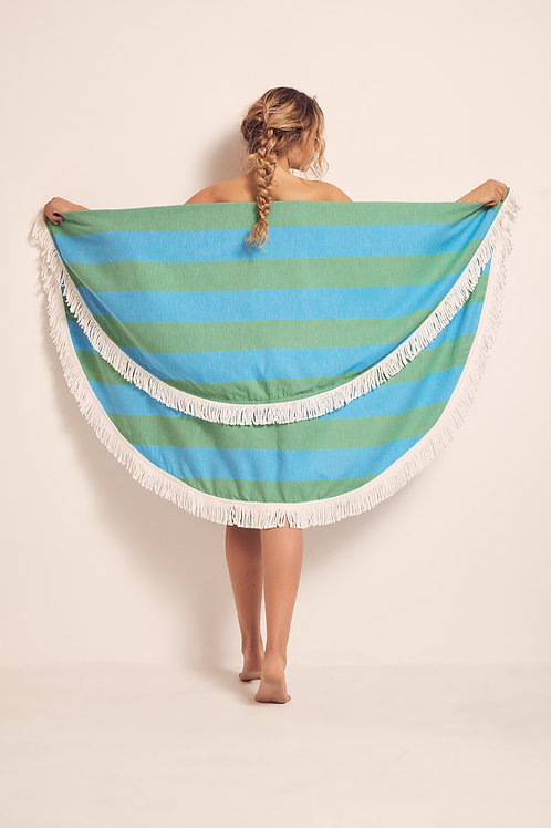 TOWEL ROUND GREEN & TURQUOISE