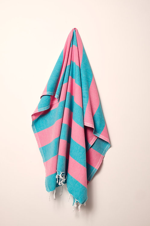 TOWEL TURQUOISE & HOT PINK