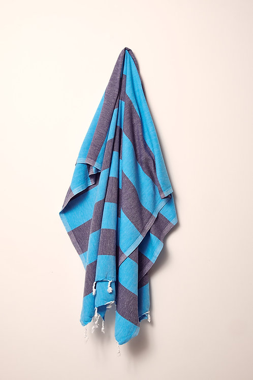 TOWEL TURQUOISE & NAVY BLUE
