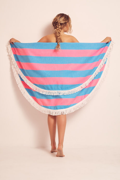 TOWEL ROUND TURQUOISE & HOT PINK
