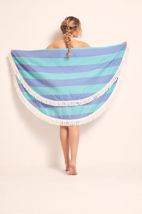 TOWEL ROUND ROYAL BLUE & SEA GREEN