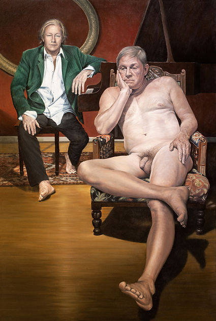 Double portrait by Gourlay-Conyngham of two men, one clothed and one nude in an interior