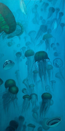 Painting by Gourlay-Conyngham of jellyfish and crockery underwater
