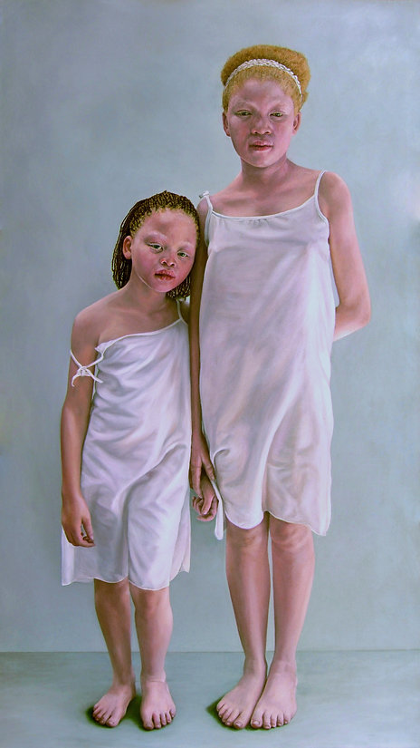 Portrait oil painting of albino sisters by Gourlay-Conyngham