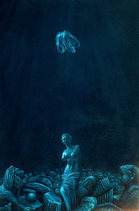 Painting by Gourlay-Conyngham of seabed with Classical relics and plastic