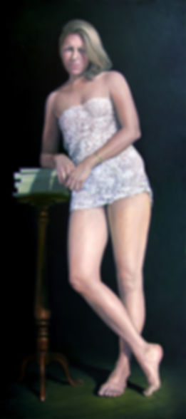 Lifesize oil painting of a woman dresed in lace and leaning on a gueridon by Gourlay-Conyngham