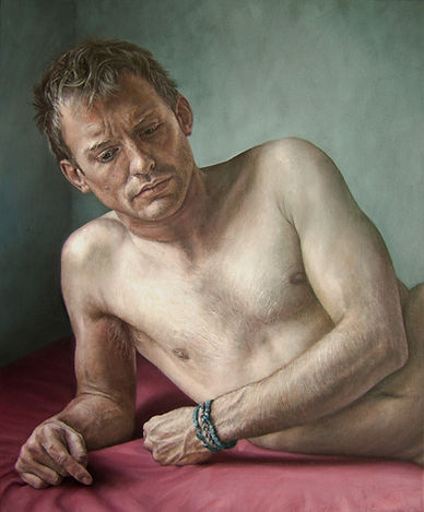 Oil painting of the head and torso of a nude male