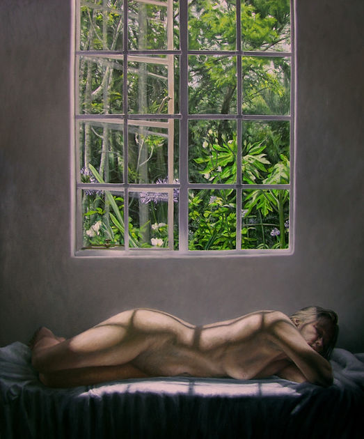 Painting by Gourlay-Conyngham of a nude woman in interior
