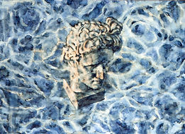 Ink painting by Gourlay-Conyngham of a Classical sculpture with water reflections