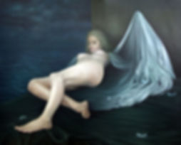 A Painting of a nude figure that references the idea of a Fallen Angel by Gourlay-Conyngham