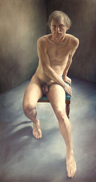 Portrait by Gourlay-Conyngham of a seated nude man, in collection of Tatham Art Gallery