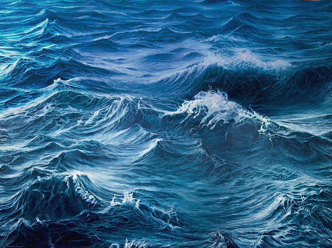 Painting by Gourlay-Conyngham of turbulent sea, in RMB art collection