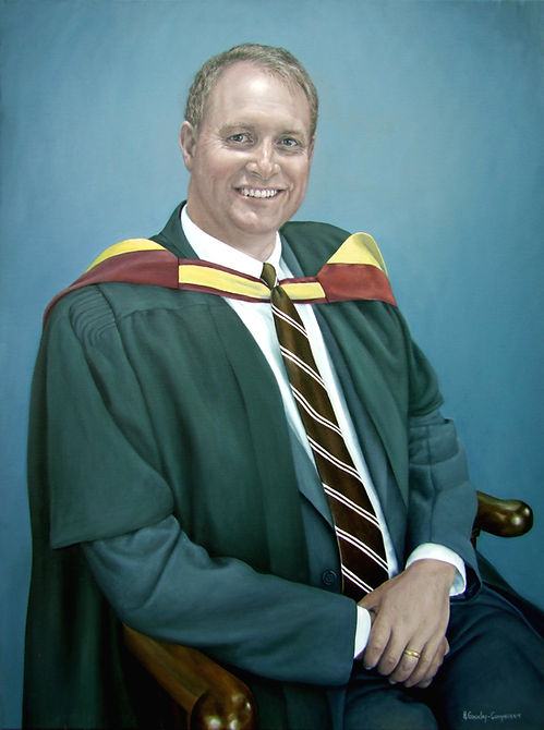 Commissioned portrait by Gourlay-Conyngam of headmaster Simon Weaver, collection of Cordwalles School