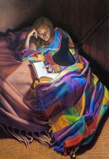 Oil painting by Gourlay-Conyngham of a woman reading