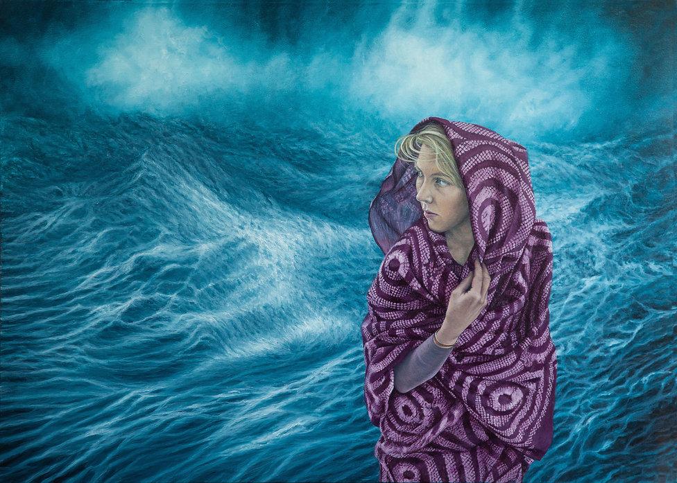 Draped woman and sea