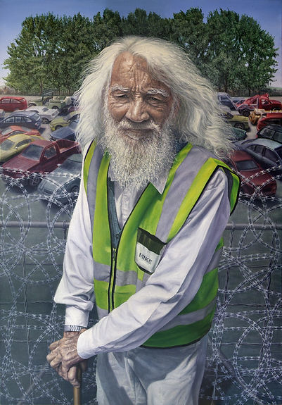 Portrait painting by Gourlay-Conyngham of car-guard Mike Landsman