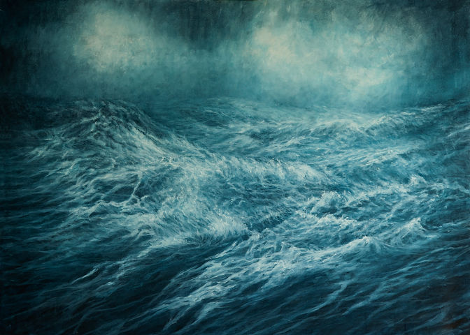 Painting by Gourlay-Conyngham of turbulent sea