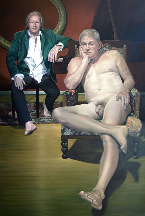 Oil painting of two men, one nude and the other clothed by Gourlay-Conyngham