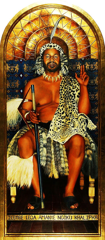 Painting by Gourlay-Conyngham of Zulu King Goodwill Zwelithini in collection of Tatham Art Gallery