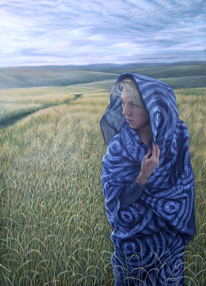 Painting by Gourlay-Conyngham of a draped woman in a field, in a private collection in Norway