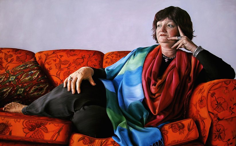 Portrait of Joy with fabric of rich colours by Gourlay-Conyngham