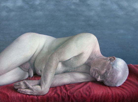 An oil painting by Goulray-Conyngham of a reclining nude man