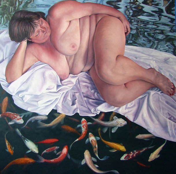Painting by Gourlay-Conyngham of a nude woman with koi fish
