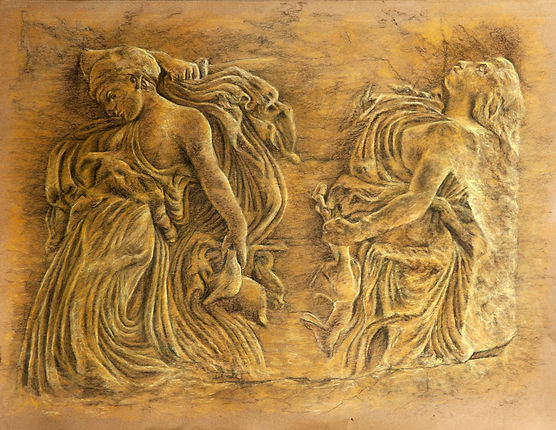 Pastel drawing by Gourlay-Conyngham of a Classical relief sculpture
