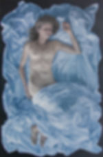 Painting by Heaher Gourlay-Conyngham of a female figure with bed-linen