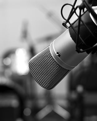 Studio microphone close-up in black and