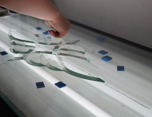 Hand-made decorative glazing panels for composite doors