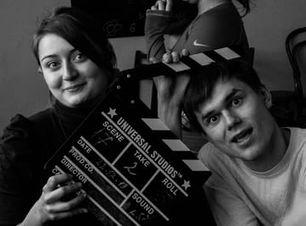 Кристина с Егорои и хлопушкой после съёмок
