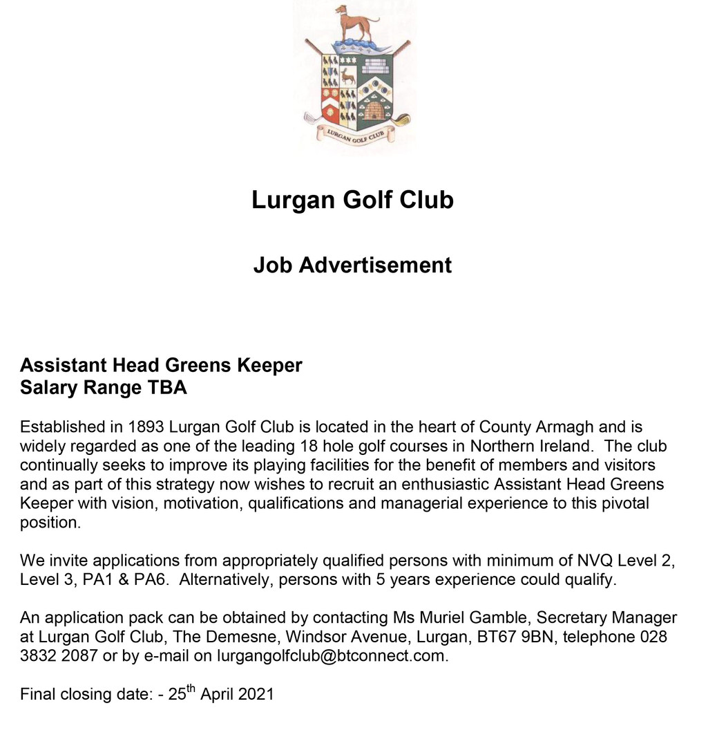 Employment ad for Assistant Head Greens
