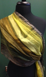PURE SILK- GREEN TONES W/BROWN SCARF -ITEM # A-38