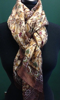 PURE SILK BROWN-GOLDEN SCARF-  -ITEM #A-8-10