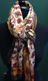 PURE SILK -BROWN-RED SCARF -ITEM #A-8-10