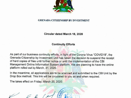 Grenada Citizenship by Investment Unit Suspends Acceptance of Hard Copies of Documents