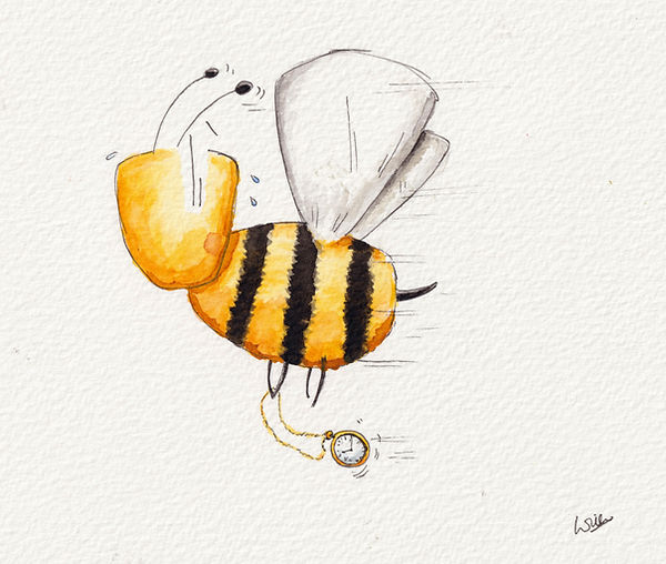 watercolour illustration of a bee worried about being late. Be on time.